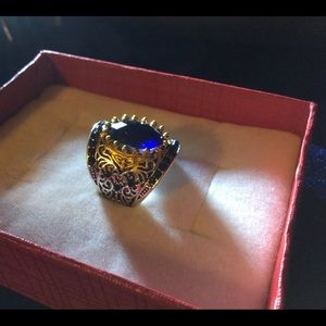Jewelry - Sterling Silver Plated Natural Sapphire Ring